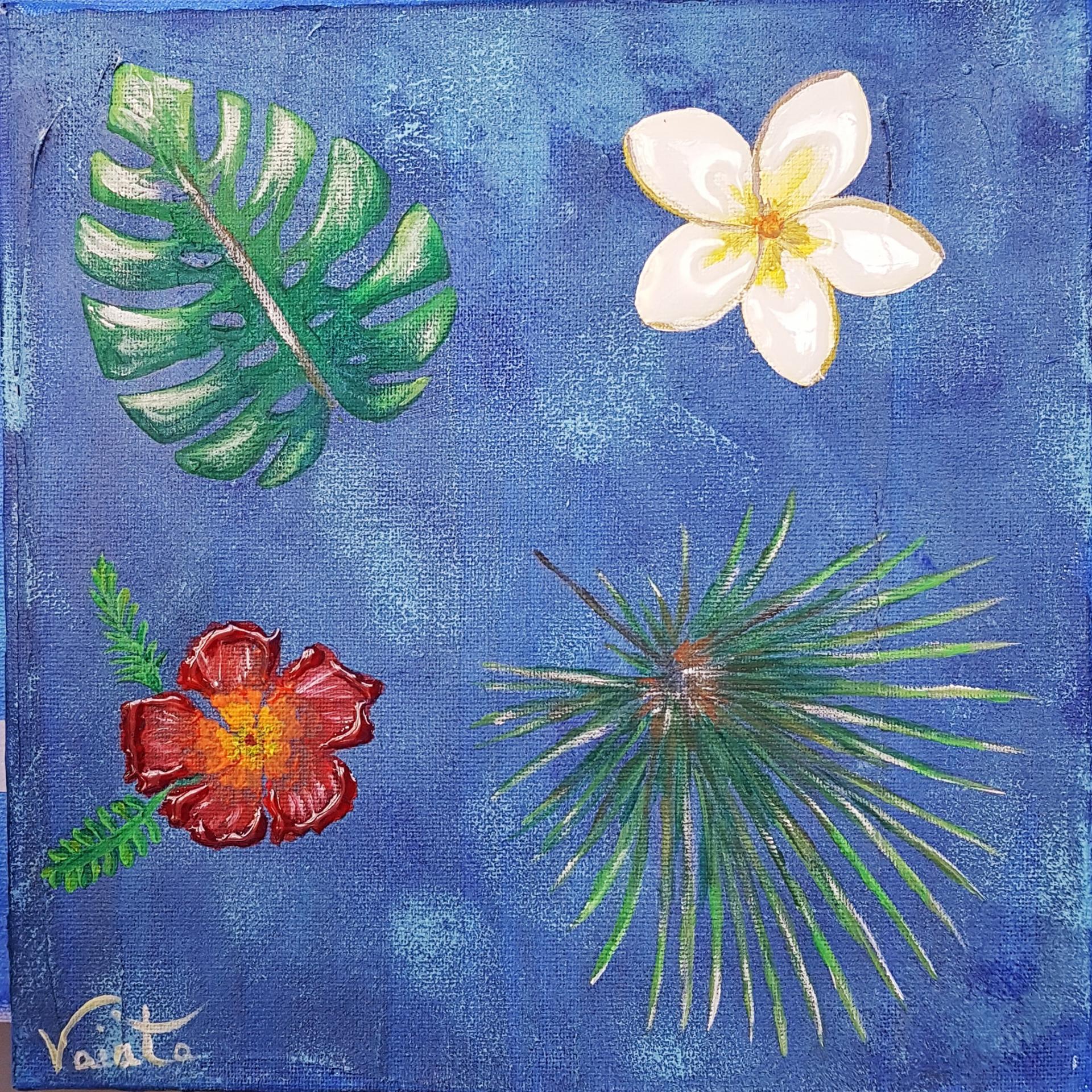 Fleurs tropicales bleu