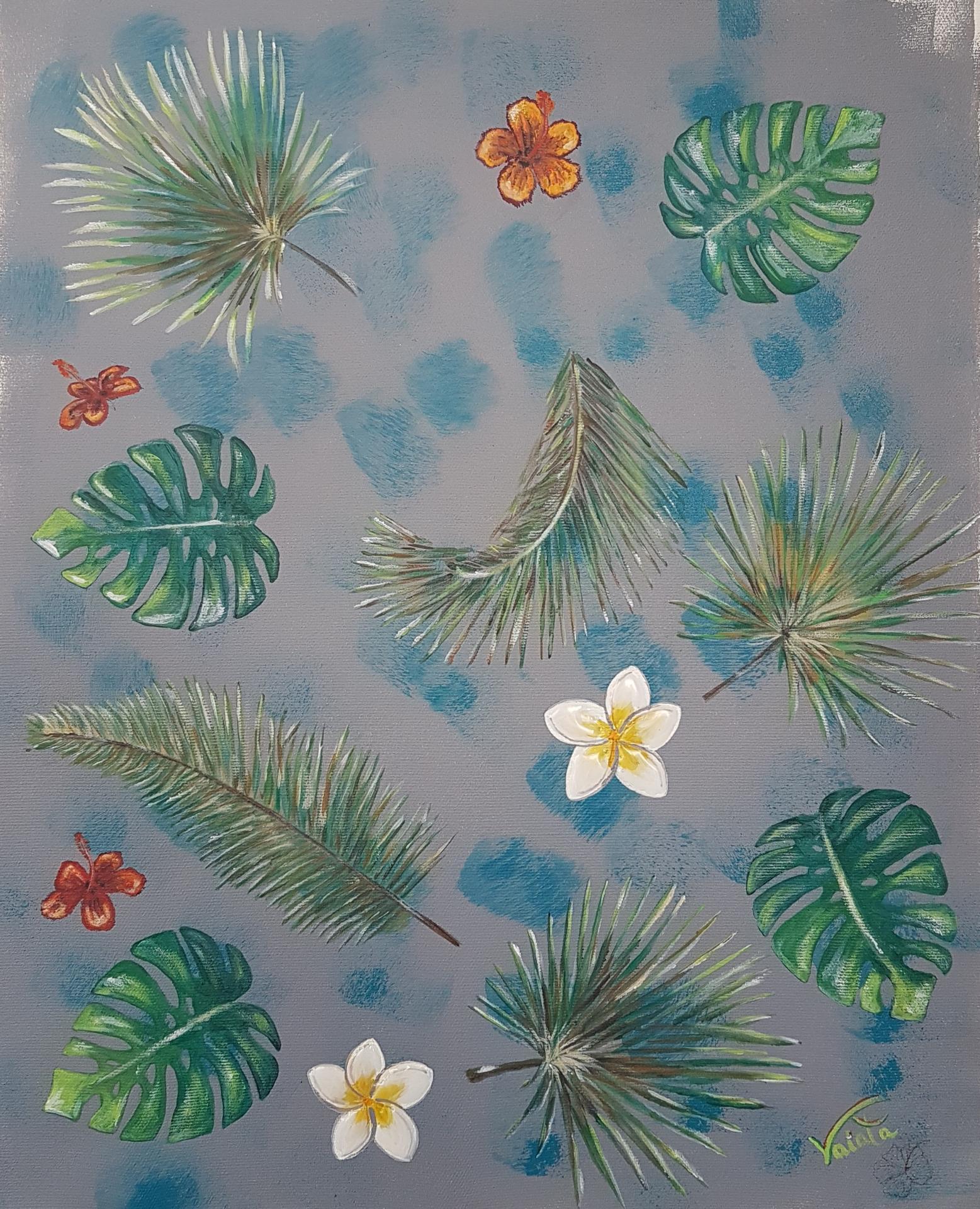 Fleurs tropicales gris 2